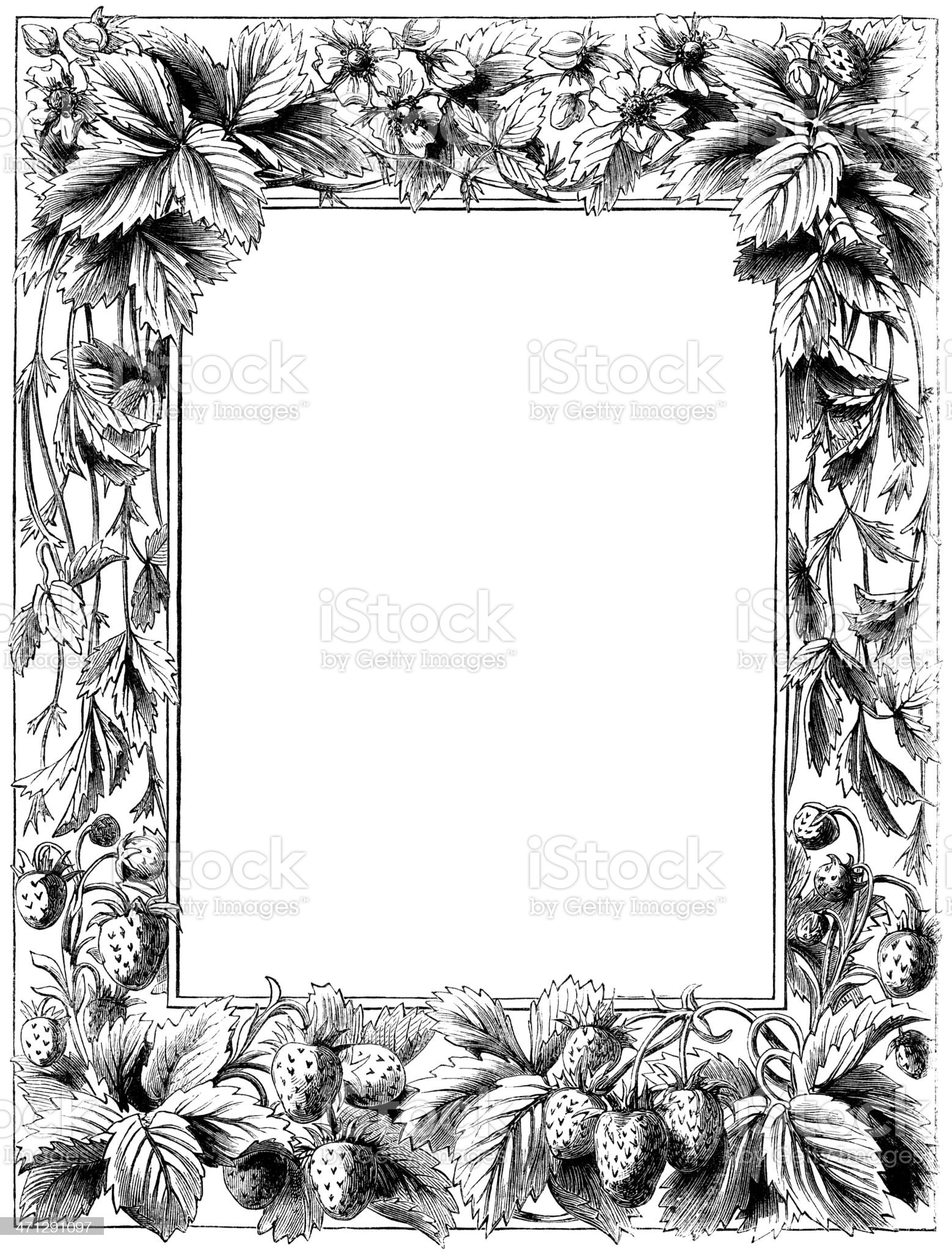 Victorian border with strawberries royalty-free stock vector art