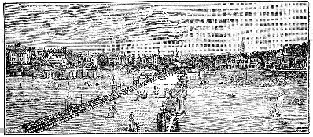 Victorian Bournemouth vector art illustration