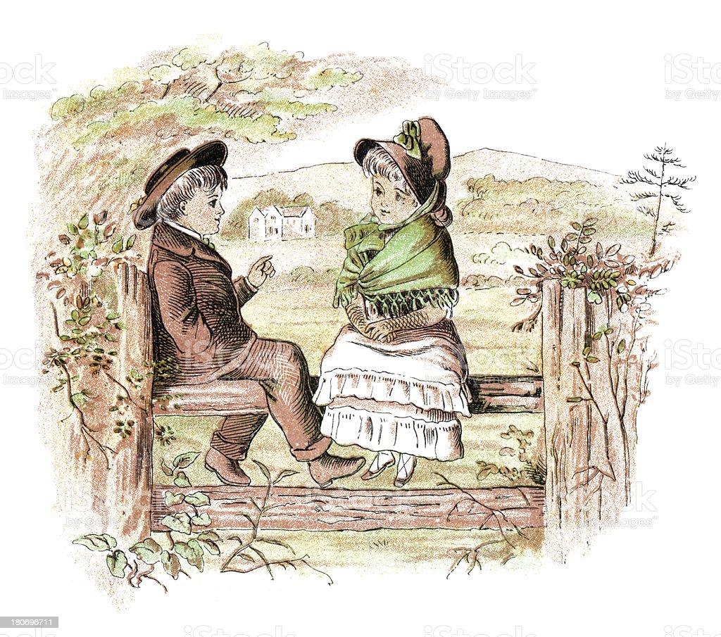 Victorian boy and girl sitting on a rural stile vector art illustration