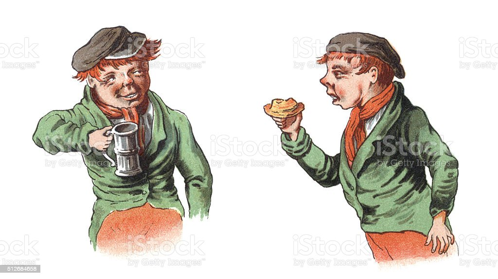 Victorian boy eating and drinking vector art illustration