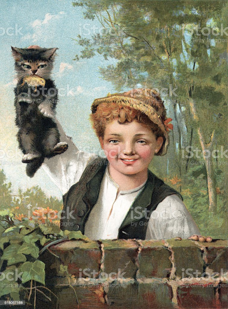 Victorian boy holding a kitten which has caught a chick vector art illustration