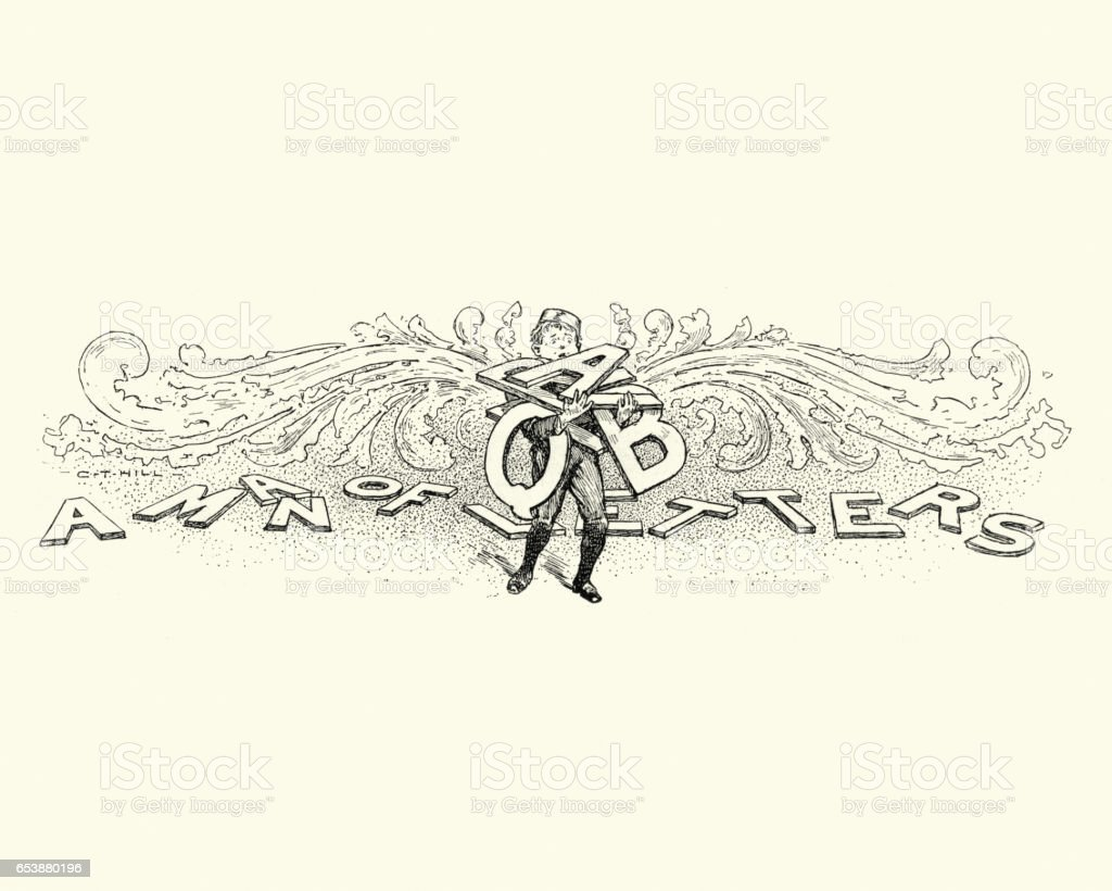Victorian boy holding a load of letters vector art illustration