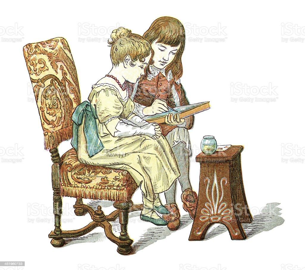 Victorian boy painting vector art illustration