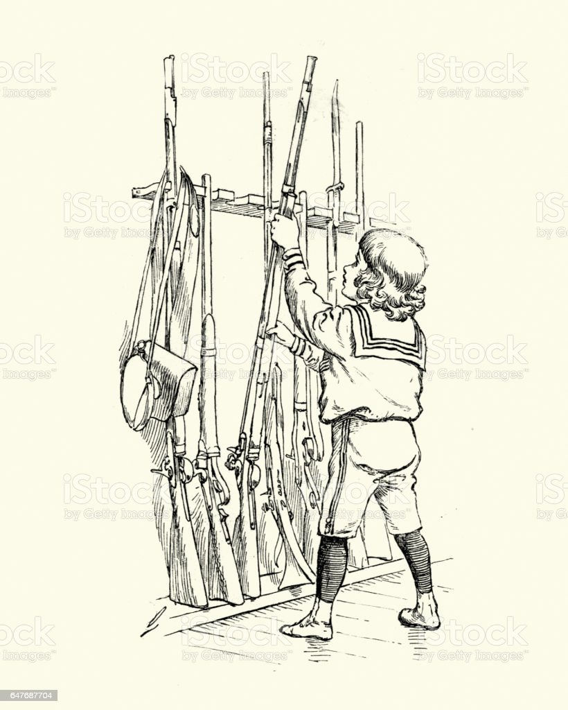 Victorian boy playing with his fathers guns vector art illustration