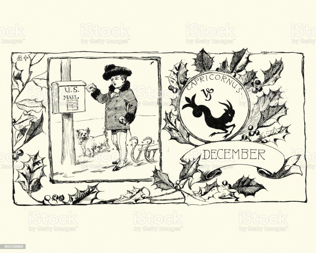 Victorian boy posting a christmas letter vector art illustration