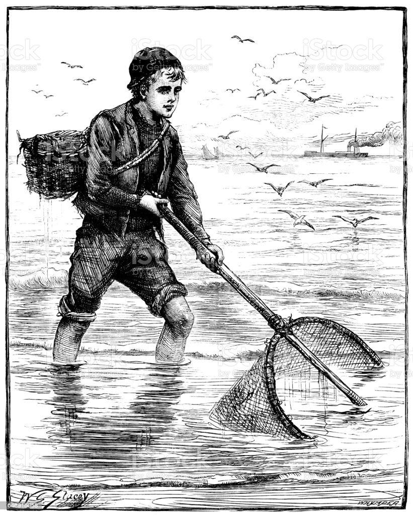 Victorian boy using a shrimp net vector art illustration