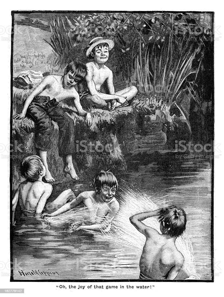 Victorian Boys at Play vector art illustration