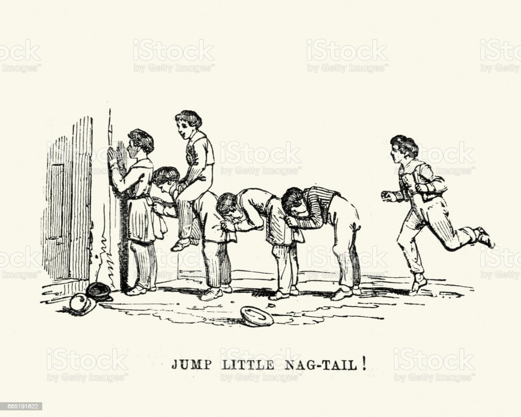 Victorian boys playing jump little nag tail vector art illustration