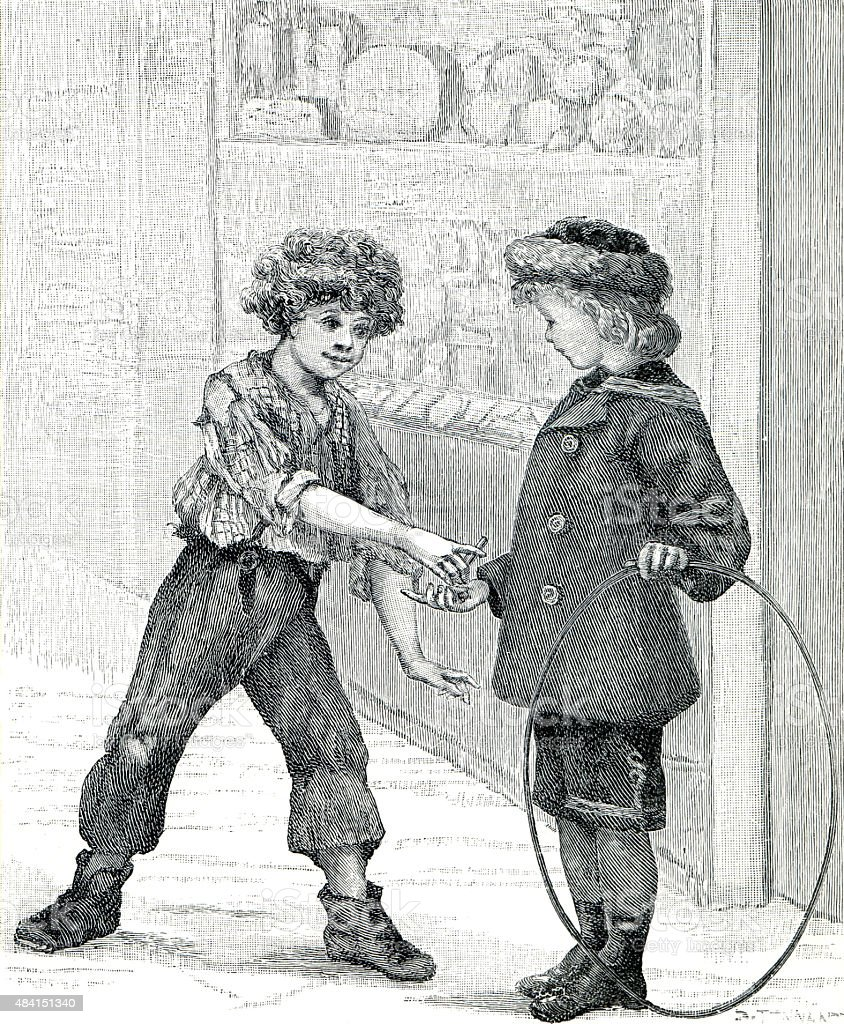 Victorian Boys Rolling Hoop vector art illustration