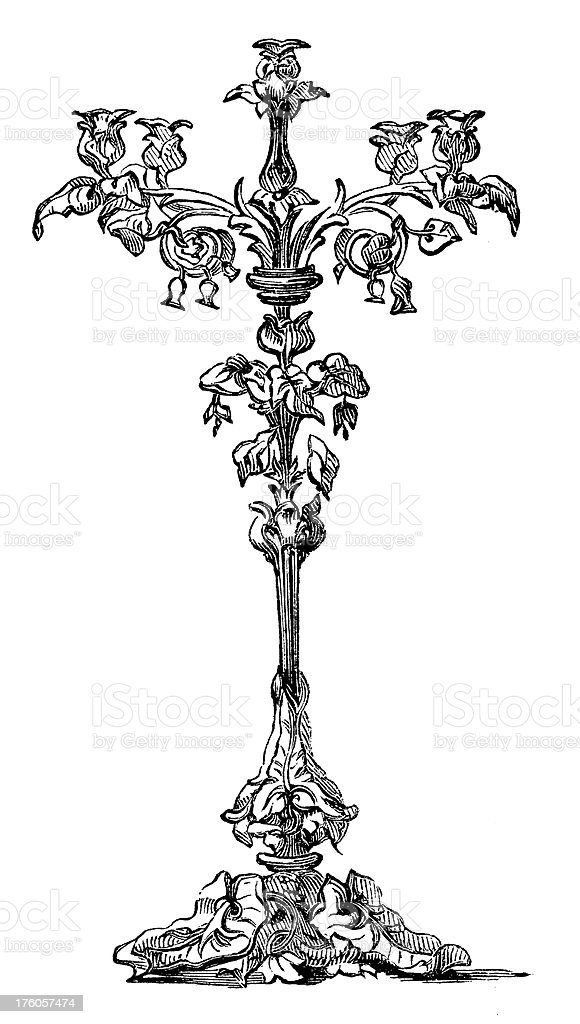 Victorian Candleholder | Antique Design Illustrations royalty-free stock vector art