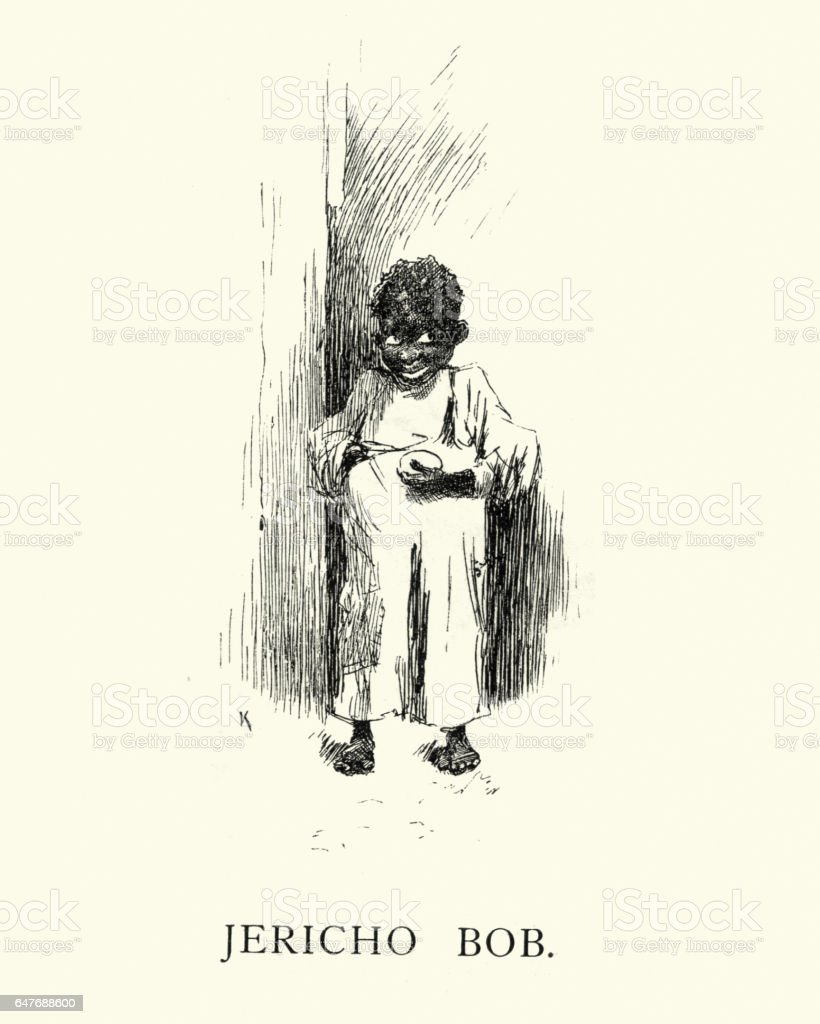 Victorian caricature of a african boy vector art illustration