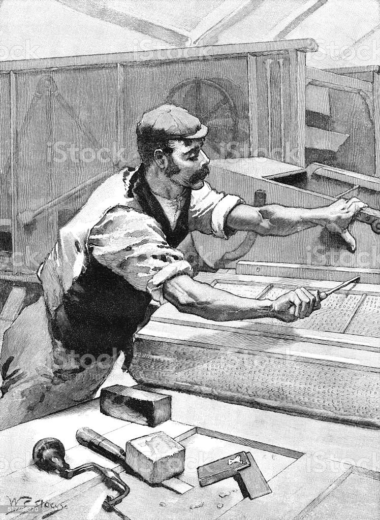 Victorian carpenter or mechanic making or repairing a threshing machine vector art illustration