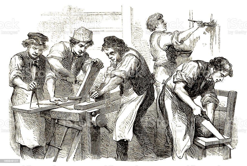 Victorian carpenters at work vector art illustration