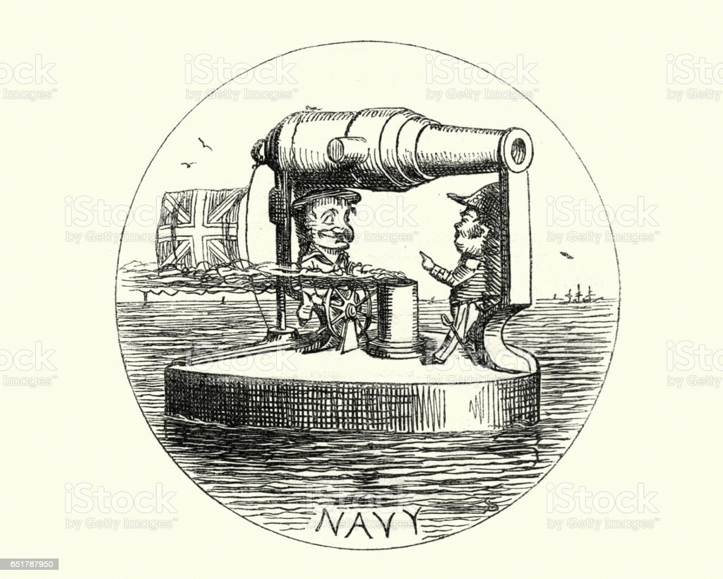 Victorian cartoon of  British Royal Navy Ironclad battleships vector art illustration