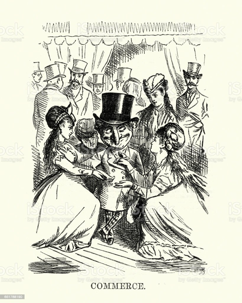 Victorian cartoon of young women flirting with old rich man vector art illustration