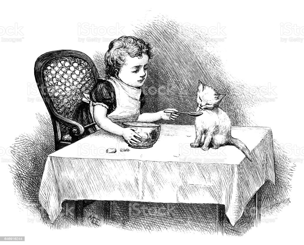 Victorian child feeding a cat with a spoon vector art illustration