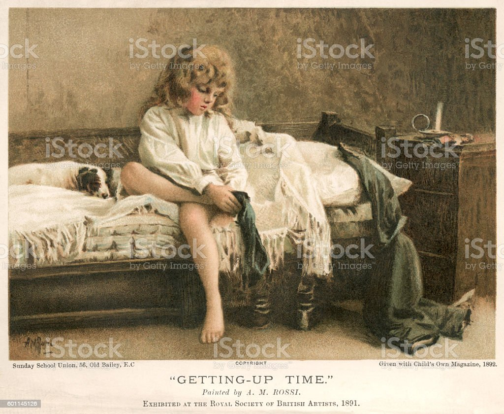 Victorian child getting out of bed in the morning vector art illustration
