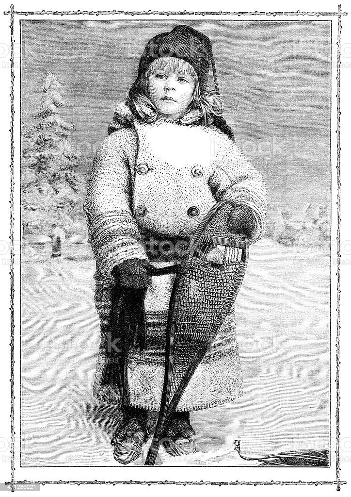 Victorian child with snowshoes royalty-free stock vector art