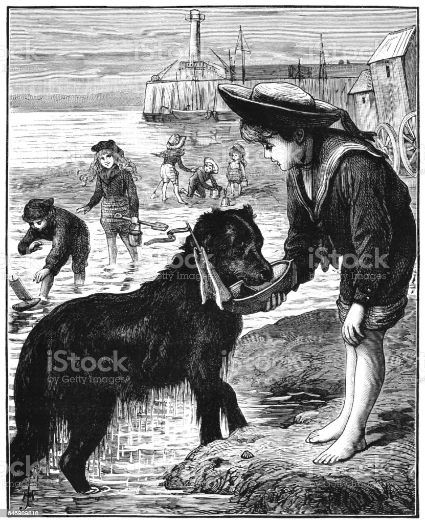 Victorian children and dog on the beach vector art illustration