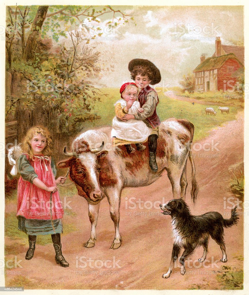 Victorian Children and their Pets, 1895 vector art illustration