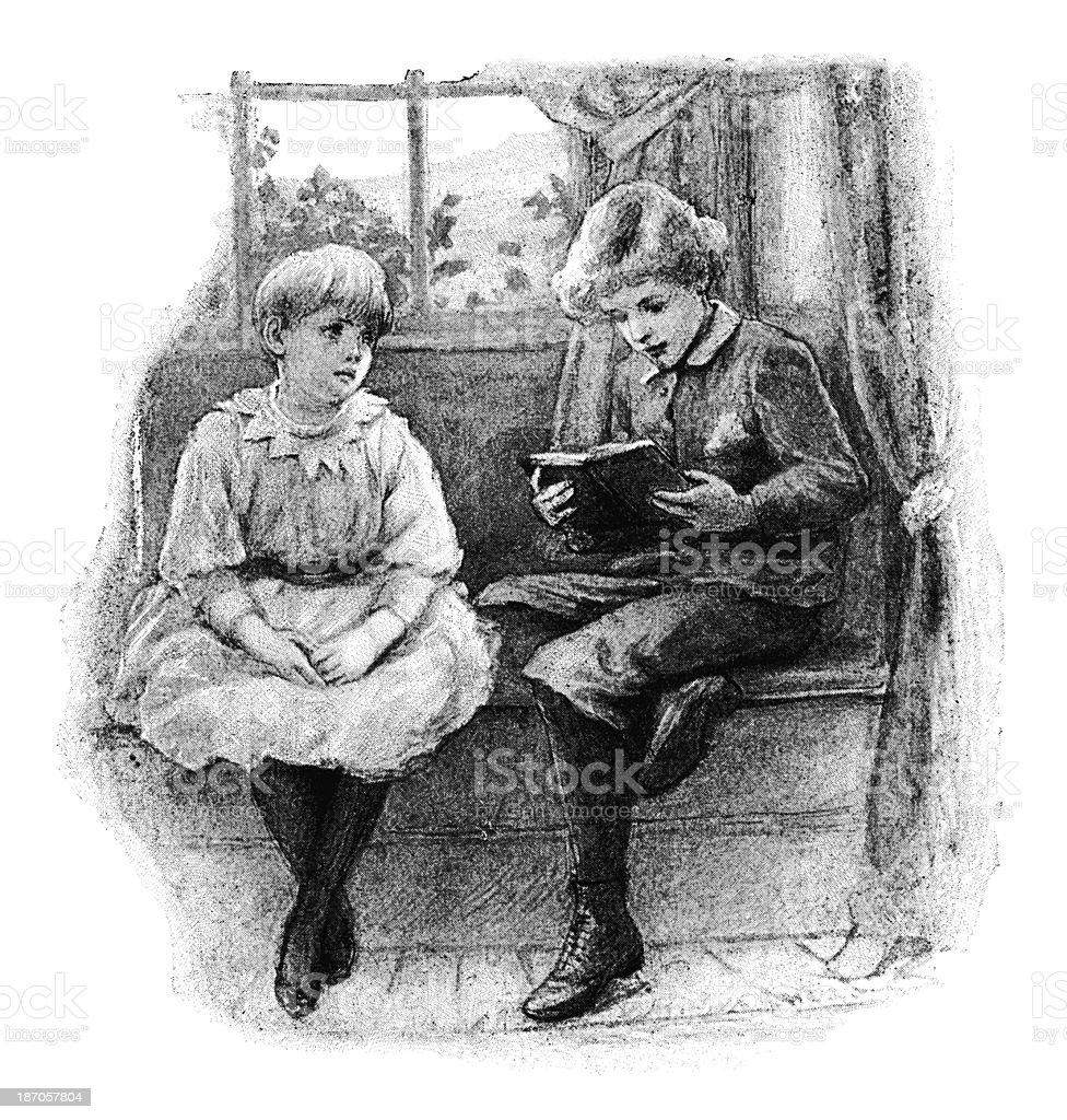 Victorian children at leisure vector art illustration