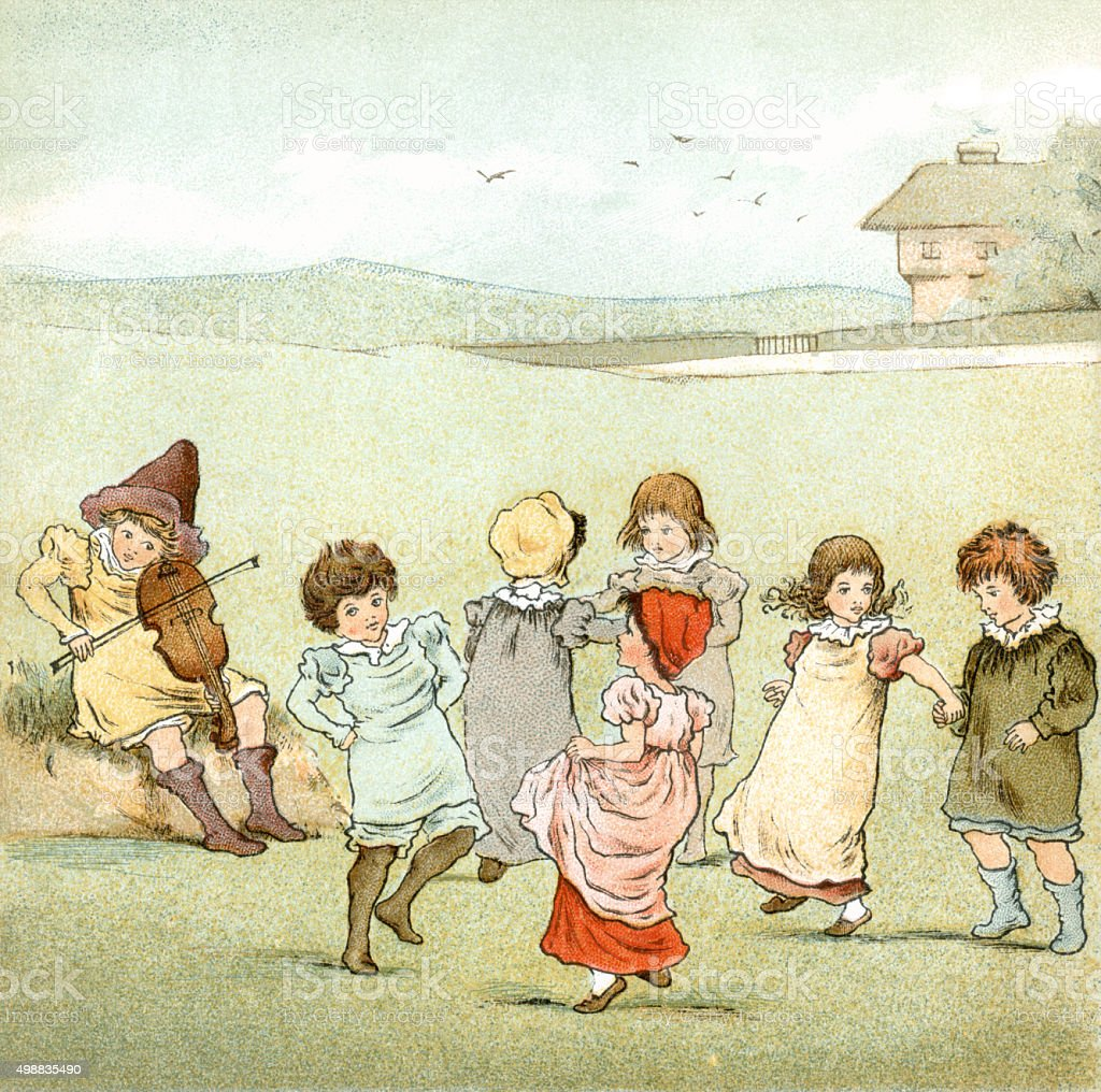 Victorian children dancing to fiddle music vector art illustration