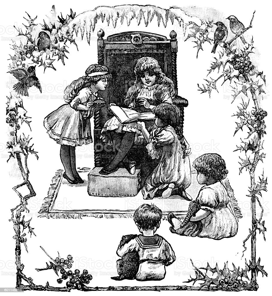 Victorian children enjoying Christmas holidays vector art illustration