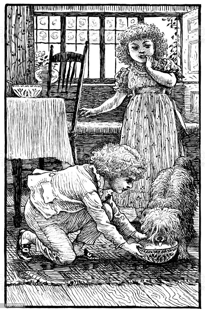 Victorian children feeding a dog royalty-free stock vector art