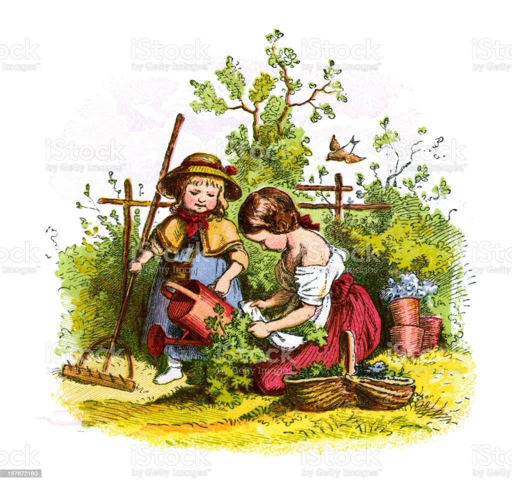 Victorian Children Gardening vector art illustration