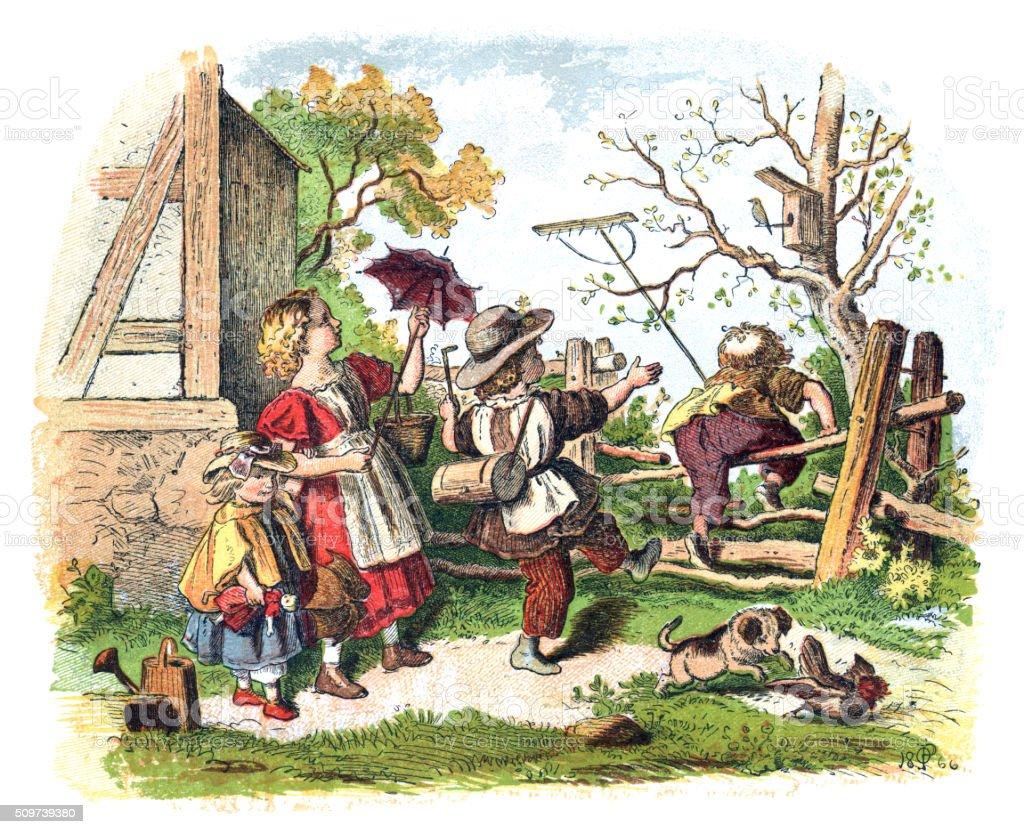 Victorian children in a farmyard vector art illustration