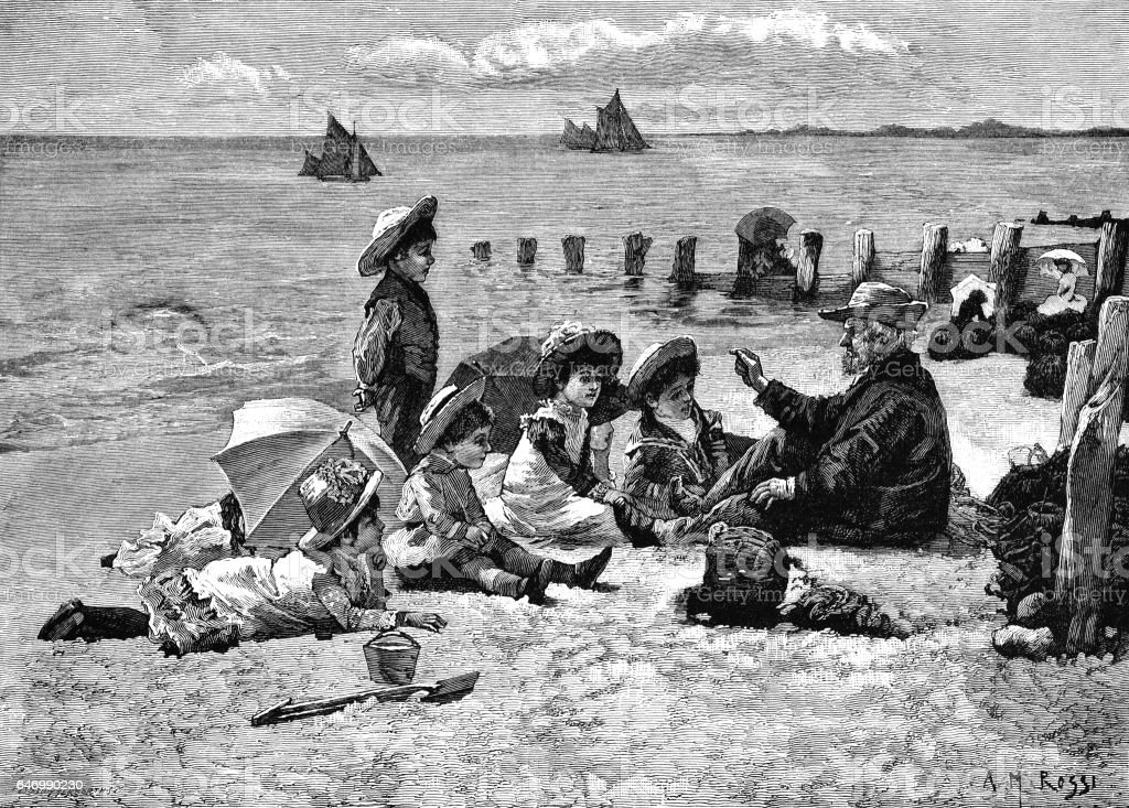 Victorian children listening to an old man on a beach vector art illustration
