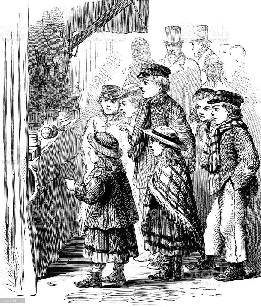 Victorian children looking at a toy stall vector art illustration