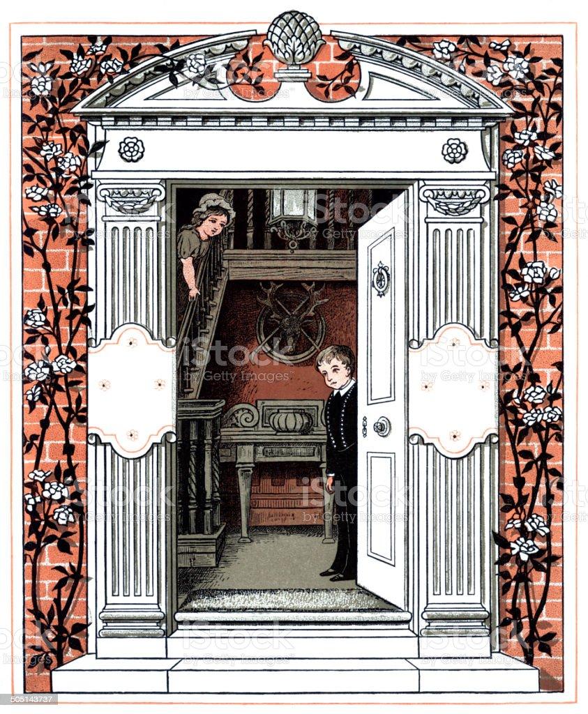 Victorian children looking through a door vector art illustration