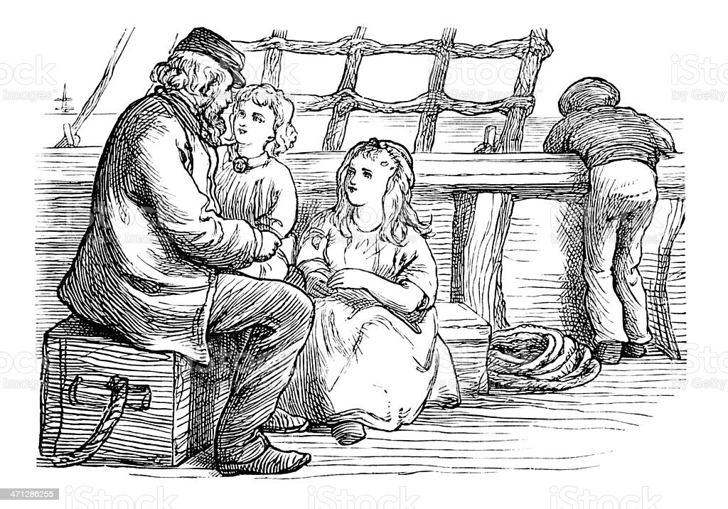 Victorian children on board a ship, talking to the captain vector art illustration