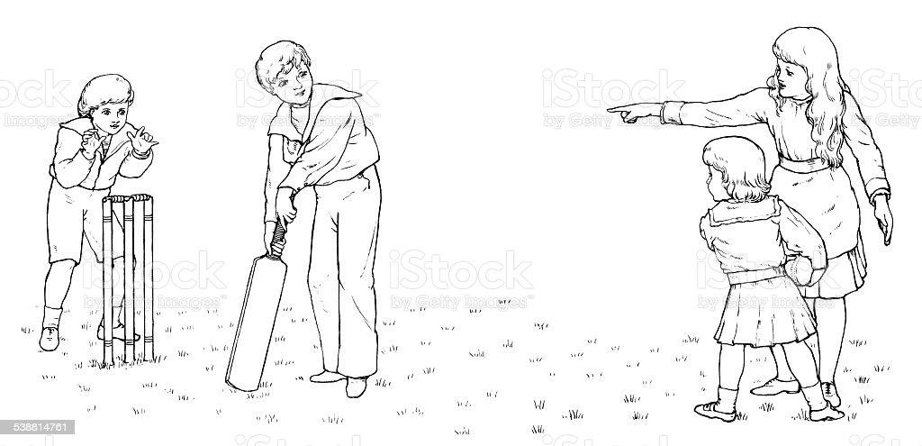 Victorian children playing cricket (engraving) vector art illustration