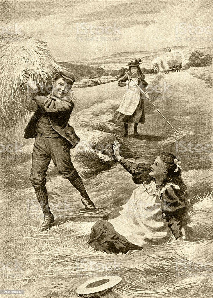 Victorian children playing in a hay field vector art illustration