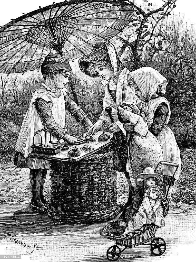 Victorian children playing shops vector art illustration