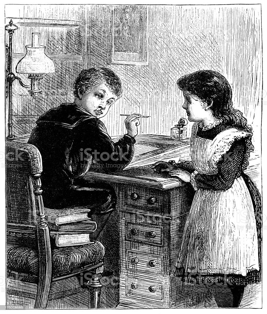 Victorian children working at a desk royalty-free stock vector art