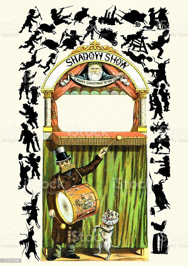 Victorian Children's Christmas Shadow Show vector art illustration