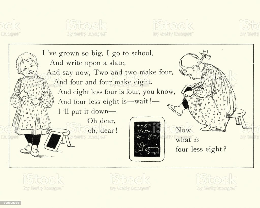Victorian childrens poem - Little school girl vector art illustration