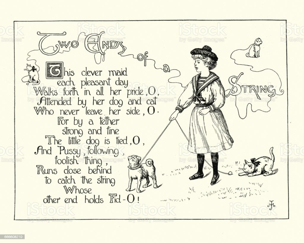 Victorian childrens poem - Two ends of a string vector art illustration
