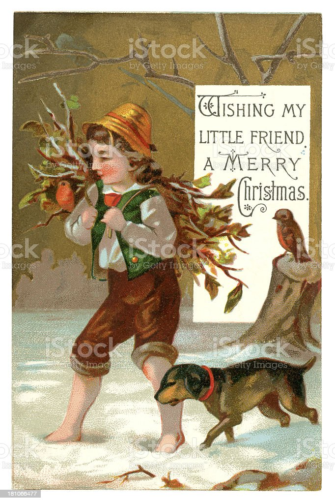 Victorian Christmas card, 1877 royalty-free stock vector art