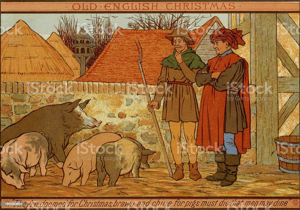 Victorian Christmas card - Doomed pigs vector art illustration