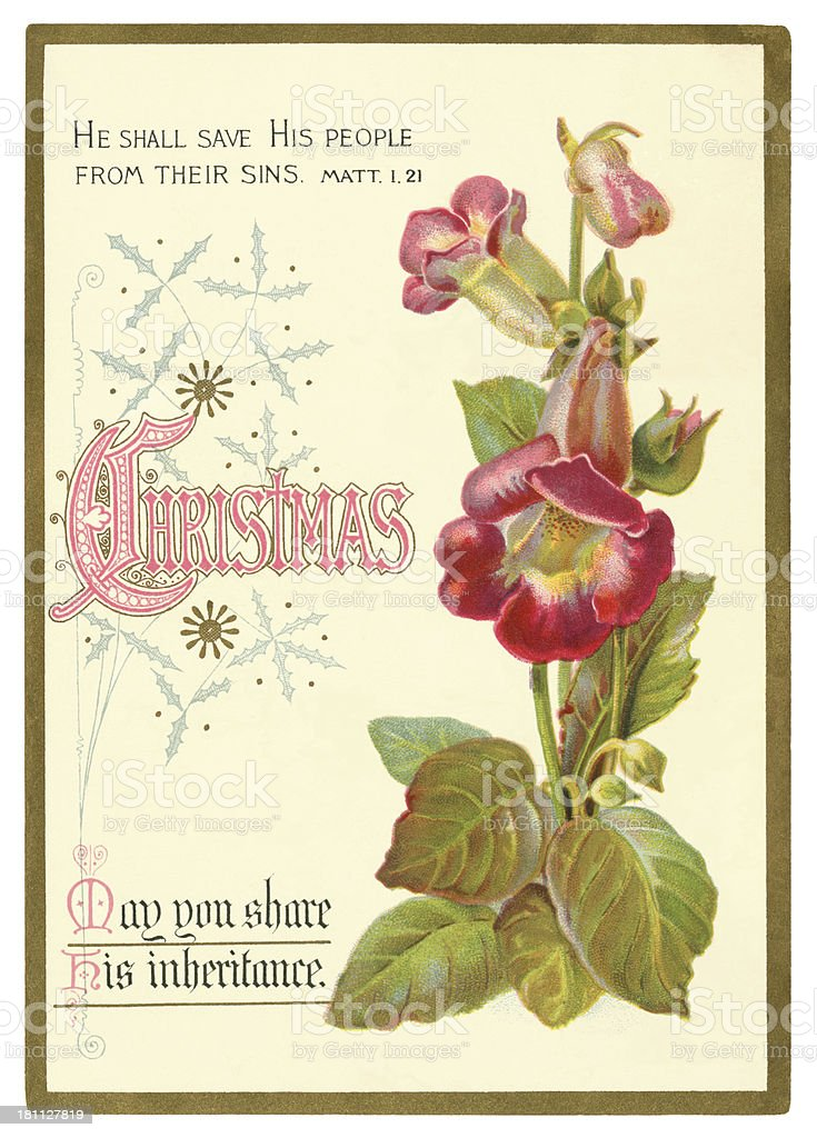 Victorian Christmas card with foxgloves, 1879 royalty-free stock vector art
