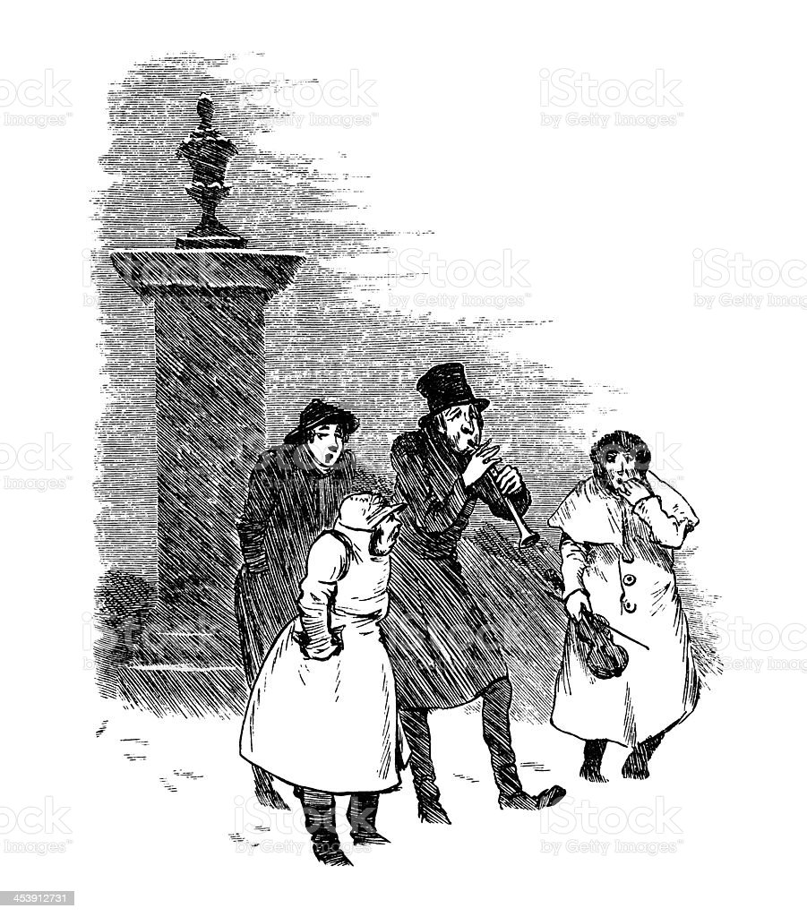 Victorian Christmas carols in the snow vector art illustration