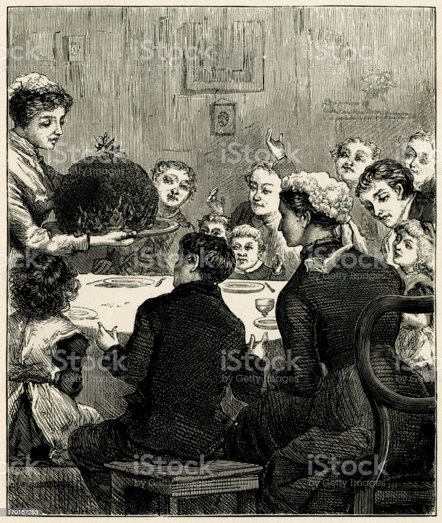 Victorian Christmas dinner with an enormous plum pudding vector art illustration