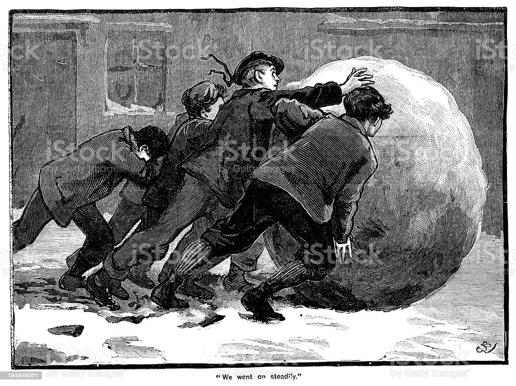 Victorian Christmas - Giant Snowball vector art illustration