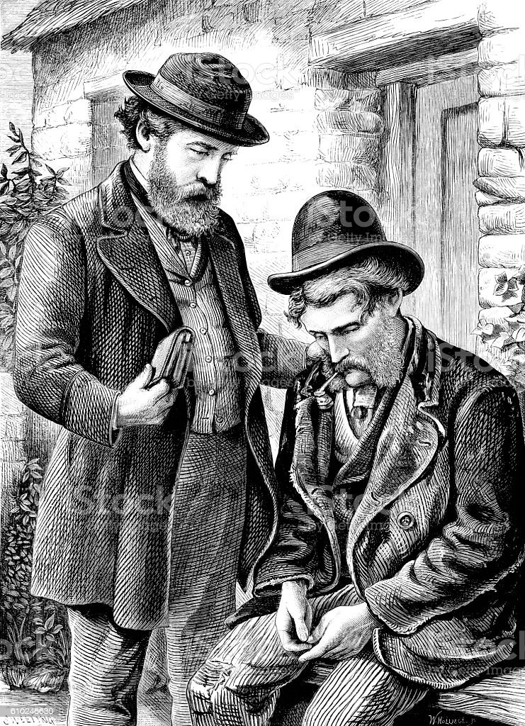 Victorian comforting a miserable man vector art illustration