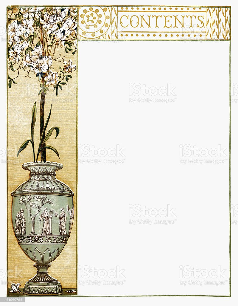 Victorian 'Contents' border vector art illustration
