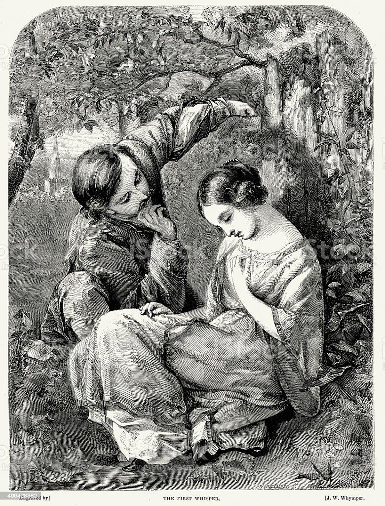 Victorian Couple Flirting - The First Whisper vector art illustration